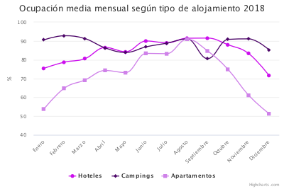 Económico (ocupación mensual alojamientos 2018)