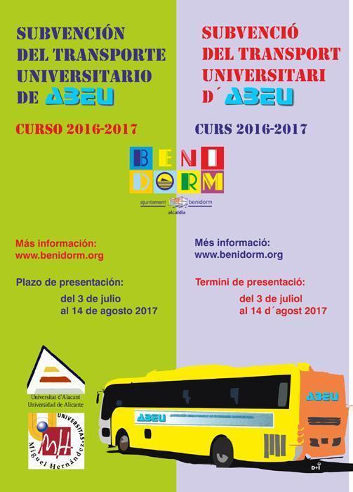 Educación abre el plazo para solicitar las ayudas al transporte universitario de ABEU