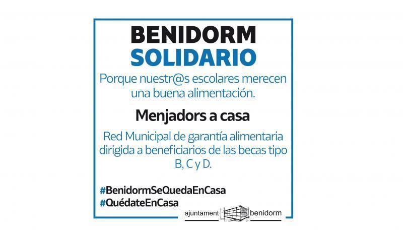 Benidorm lanza el plan municipal de 'Menjadors a casa', que llegará a más de 500 alumnos de Infantil y Primaria