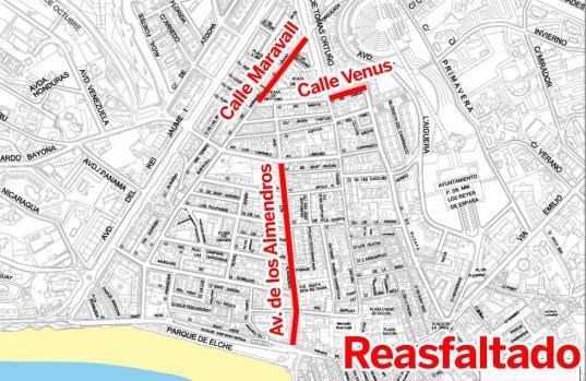 El Plan de Asfaltado avanza por las calles Maravall, Venus y la Avenida de los Almendros