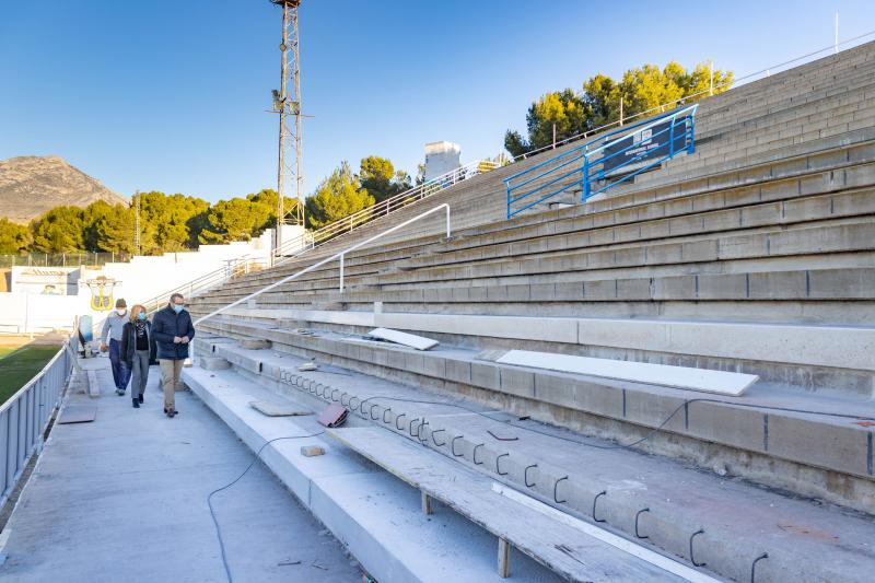 Sports department renews and waterproofs the stands of Guillermo Amor stadium...