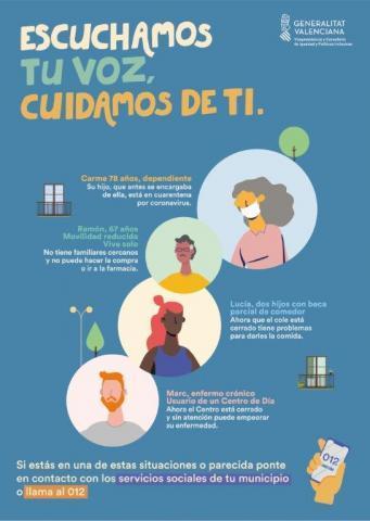 Cartel ayudas emergencia social y sanitaria COVID-19