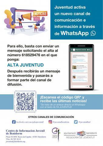 Cartel canal difusión por WhatsApp