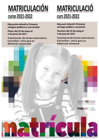 Cartel matriculación curso 2021-2022