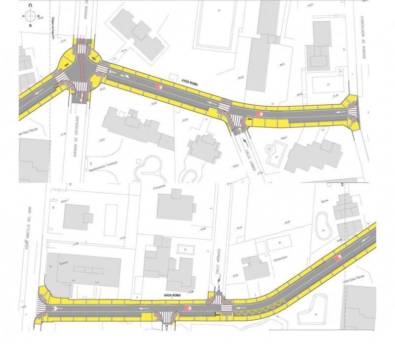 Proyecto de la avenida por secciones