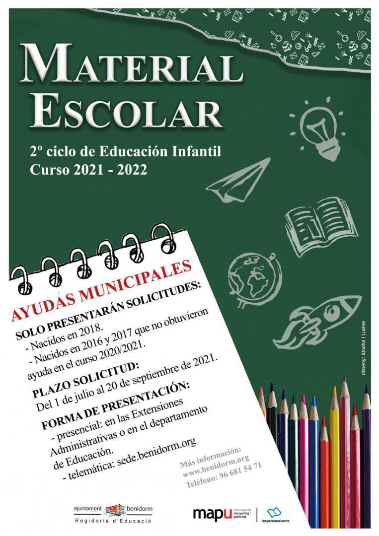 """Recogida vales de """"Ayuda de material escolar de 2º ciclo de Educación Infantil"""" curso 2021-2022"""