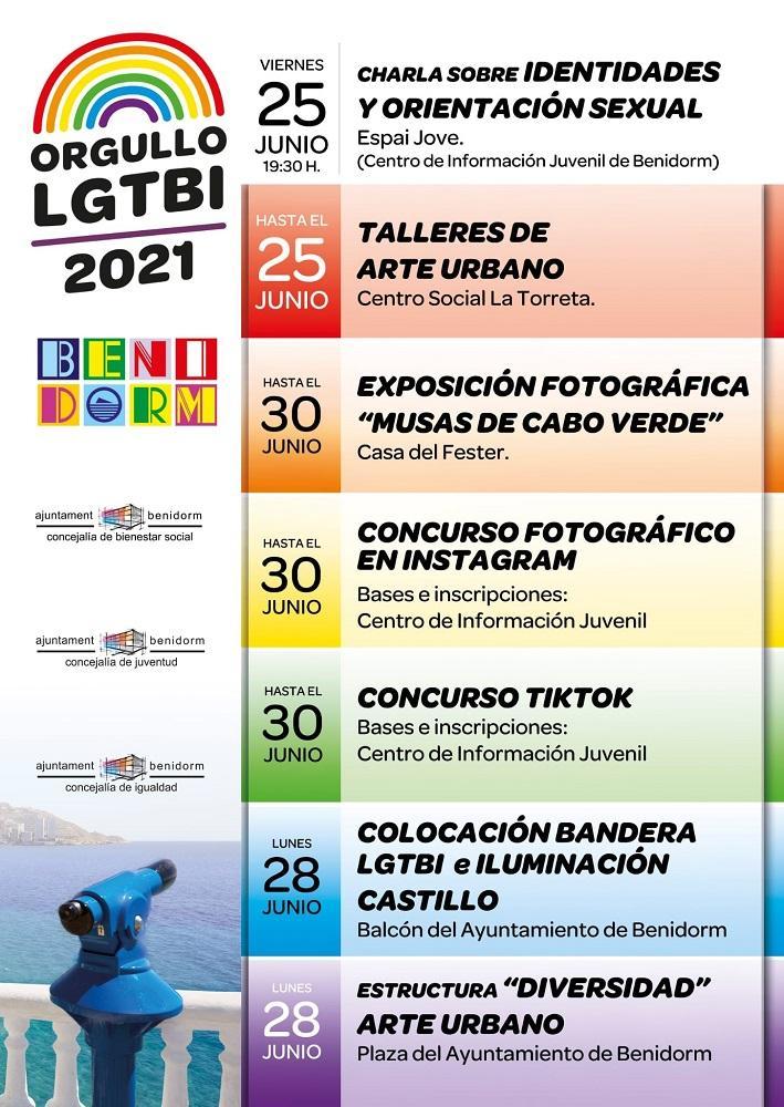 Arte urbano, charlas, concursos de fotografía y vídeo en redes centran el 'Orgullo LGTBI' de Benidorm