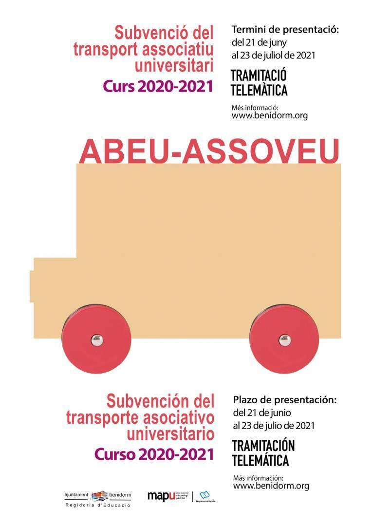 """Abierto plazo solicitud """"Ayudas transporte universitario asociativo"""" Curso 2020-21"""