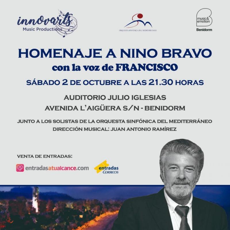 Nino Bravo en la voz de Francisco, la propuesta de la Orquesta Sinfónica del Mediterráneo para el 2 de octubre