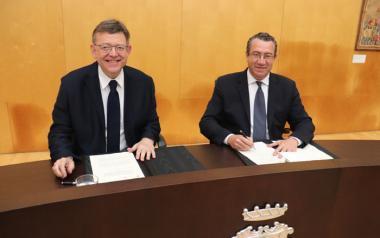 El alcalde y el presidente de la Generalitat firman el nuevo convenio sobre el suelo del centro cultural