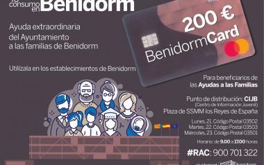 Benidorm inicia el lunes la entrega de las 3.000 tarjetas-monedero 'Benidorm Card' cargadas con 200 € para ayuda extraordinaria a familias