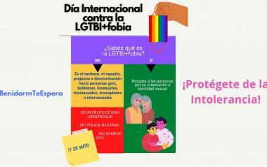 Benidorm ilumina hoy el Castell con los colores arcoíris para conmemorar el 'Día internacional contra la LGTBifobia'