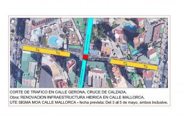 El tramo de la calle Gerona entre Filipinas y Cuenca estará cortado al tráfico tres días por las obras de Mallorca
